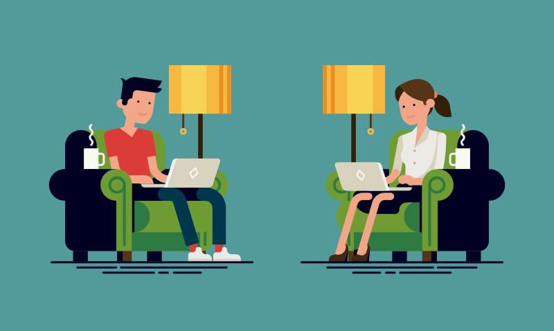 ley de teletrabajo, pareja trabajado
